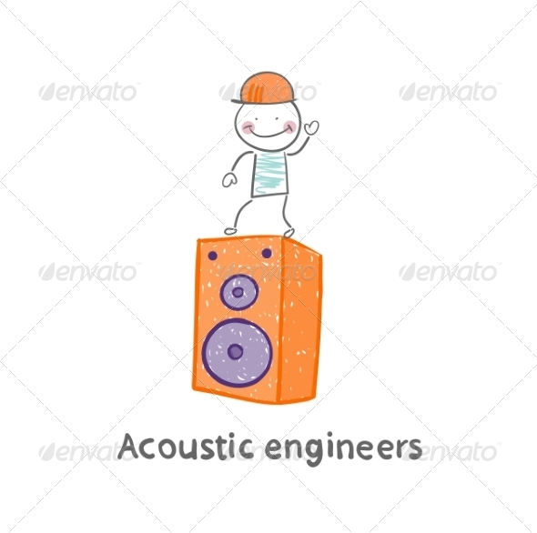 Acoustic Engineer Standing on a Large Column - People Characters