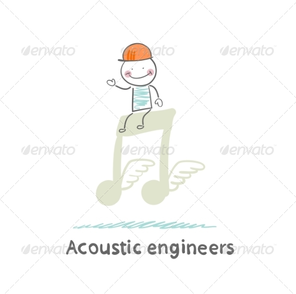 Acoustic Engineer Sitting on a Big Note - People Characters