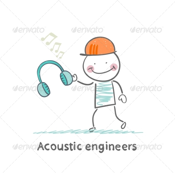 Acoustic Engineer Holding Headphones - People Characters