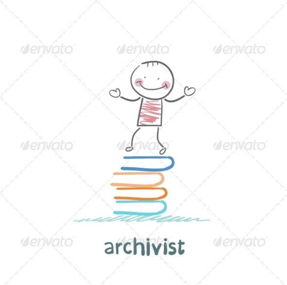 Archivist Stands on a Pile of Books - People Characters