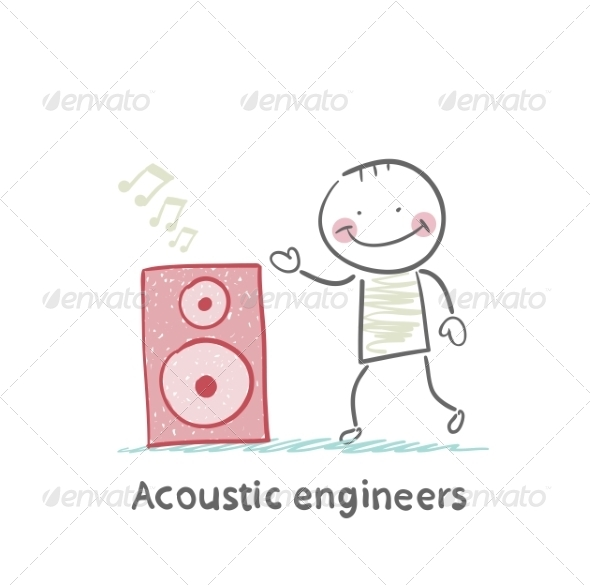 Acoustic Engineer with Column - People Characters