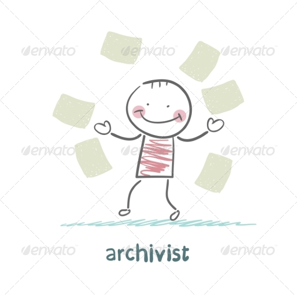 Archivist of Paper Flying Around - People Characters