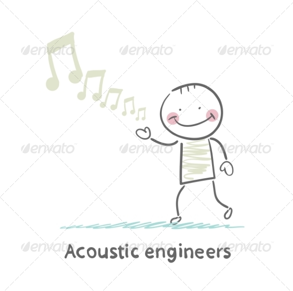 Acoustic Engineer with Notes - People Characters