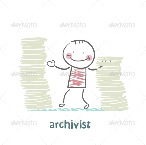 Archivist is Standing Near the Pile of Papers - People Characters