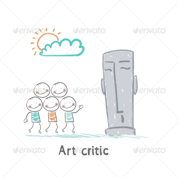 Art Critic Looks at the Sculpture - People Characters