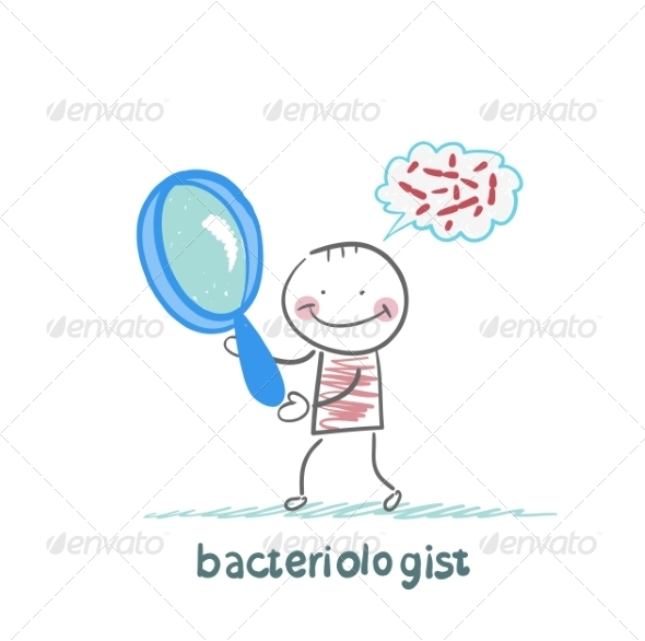 Bacteriologist Looks Through a Magnifying Glass  - People Characters