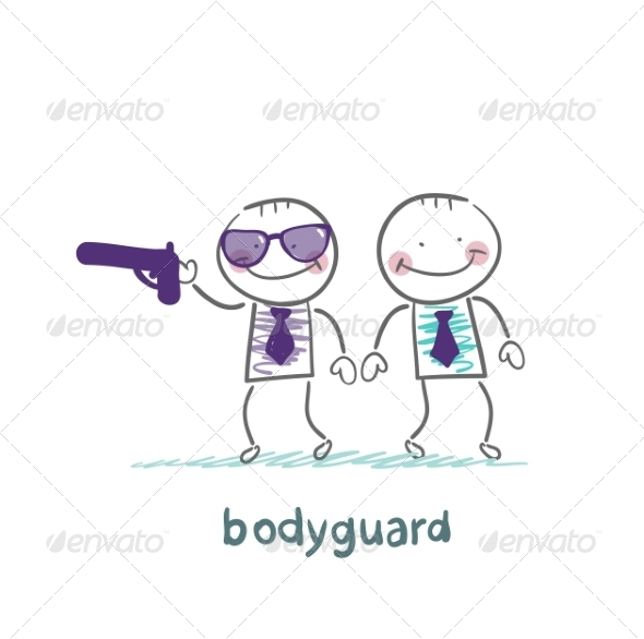 Bodyguard Protects with Gun - People Characters