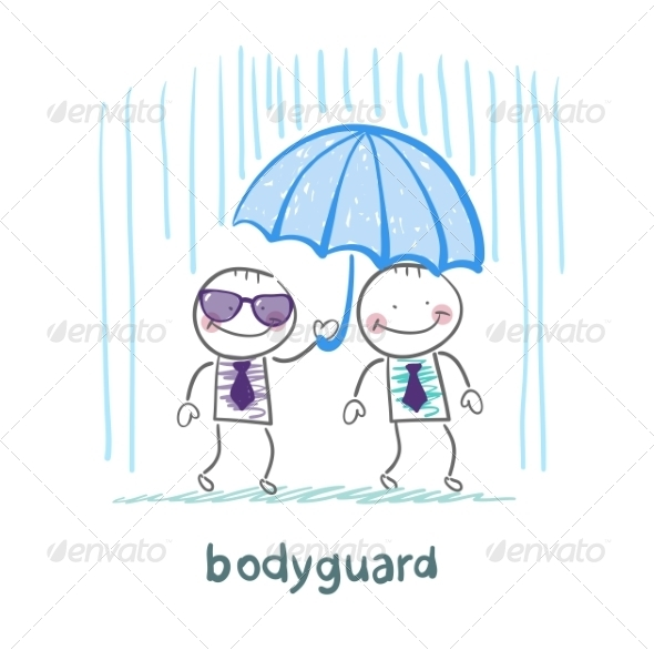 Bodyguard Businessman Holding an Umbrella - People Characters
