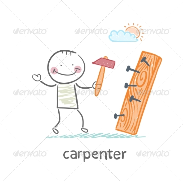 Carpenter Hammering Nails into a Board - People Characters