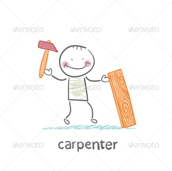 Carpenter with a Hammer and Board - People Characters