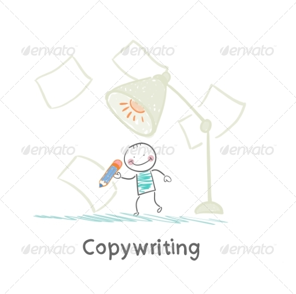 Copywriter Writes in Pencil on Paper - People Characters