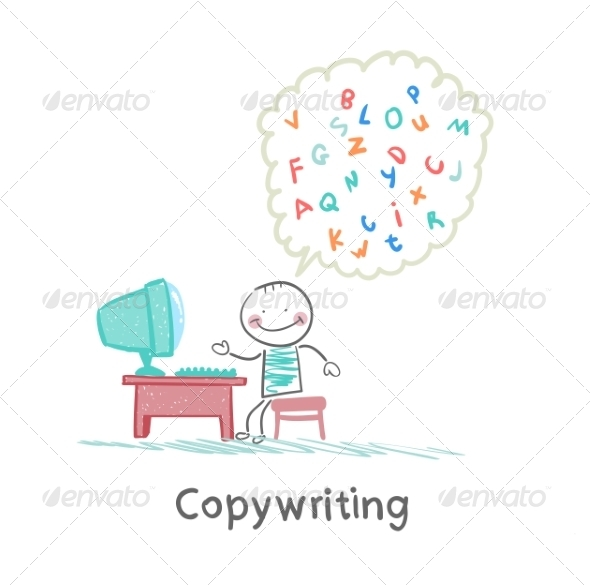 Copywriter at Work at the Computer - People Characters