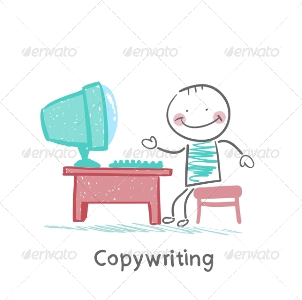 Copywriter at Work on the Computer - People Characters