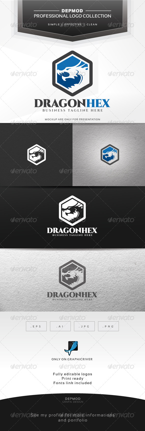 Dragon Hex Logo - Crests Logo Templates