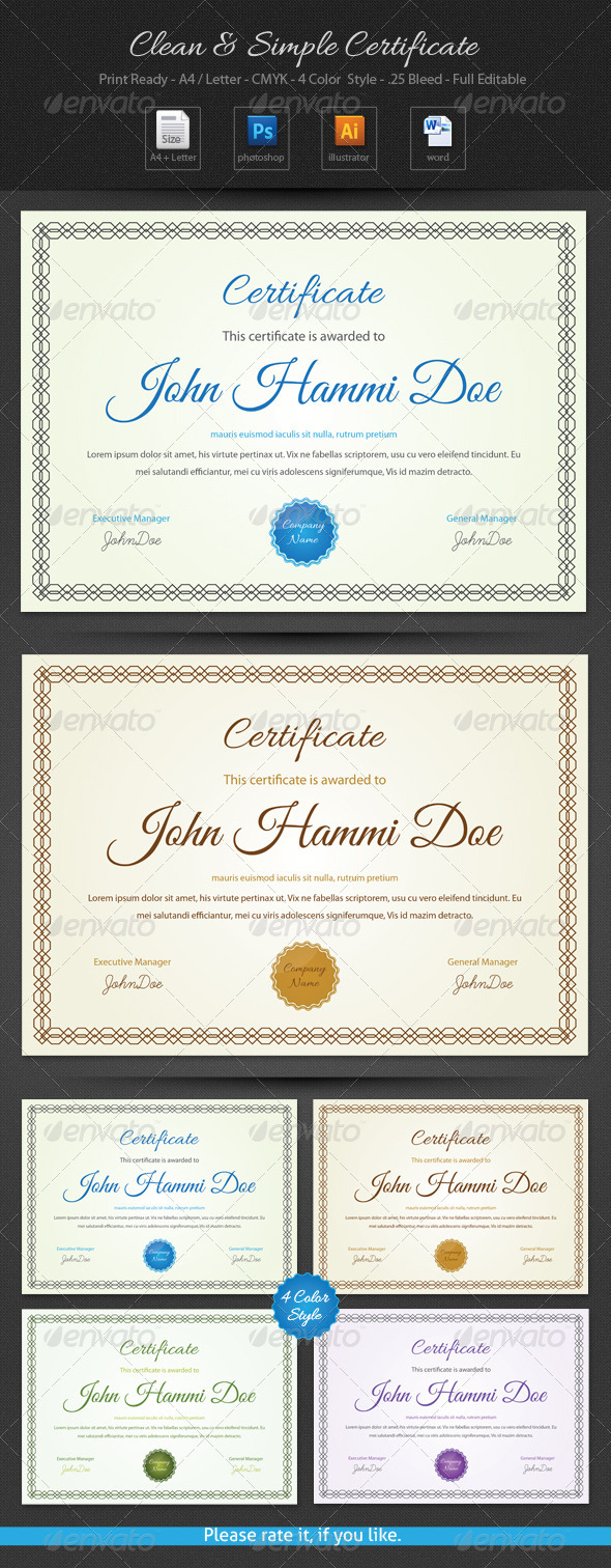 Clean & Simple Certificate - Certificates Stationery