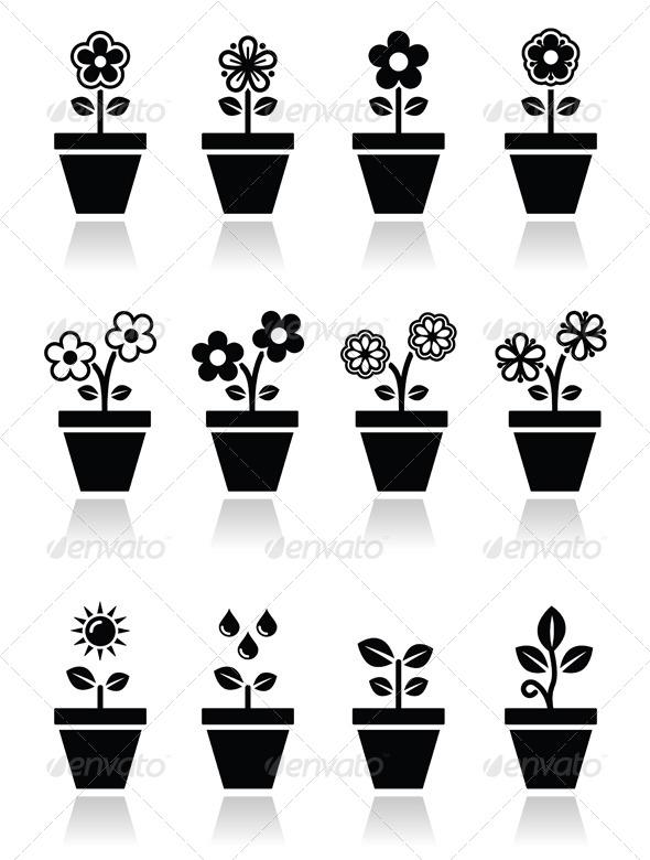 Flower Pot Icons - Flowers & Plants Nature