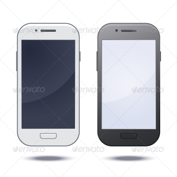 Realistic Black Mobile Phone with Blank Screen - Communications Technology