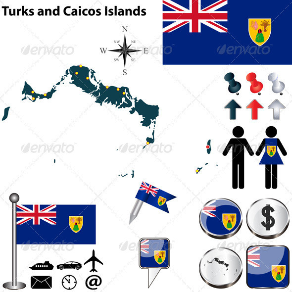 Map of Turks and Caicos Islands - Travel Conceptual
