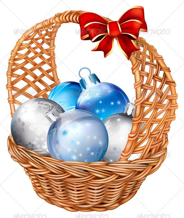 Basket with Christmas Balls - Flourishes / Swirls Decorative