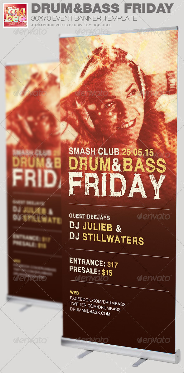 Drum and Base Friday Event Banner Template - Signage Print Templates