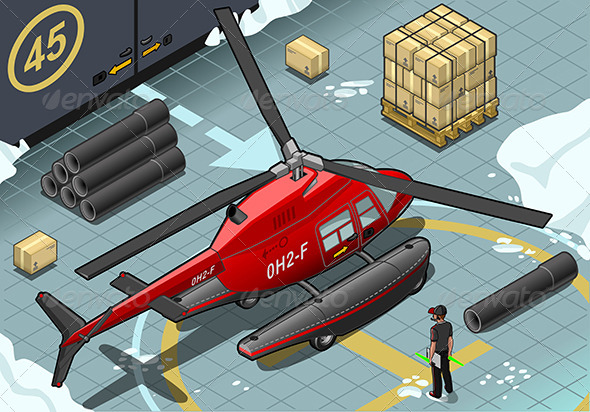 Isometric Arctic Emergency Helicopter Landed - Objects Vectors