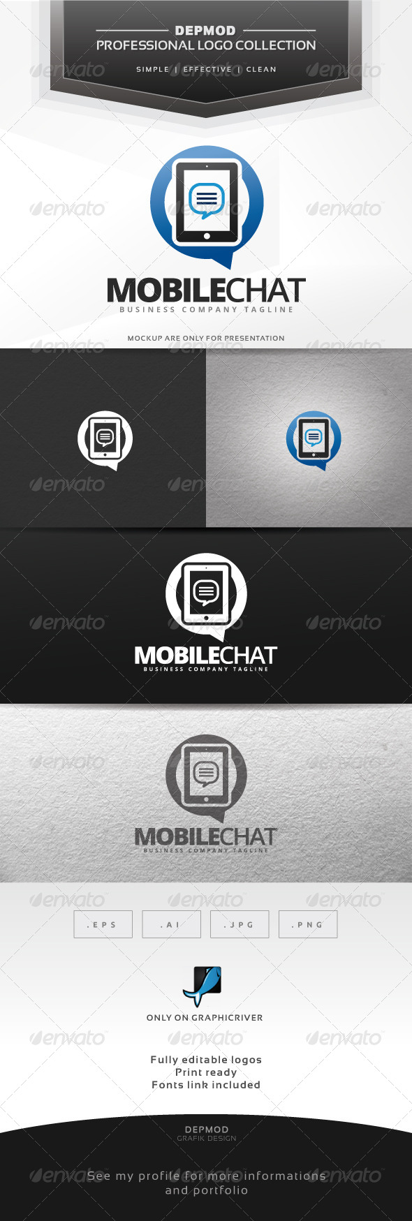 Mobile Chat Logo - Symbols Logo Templates
