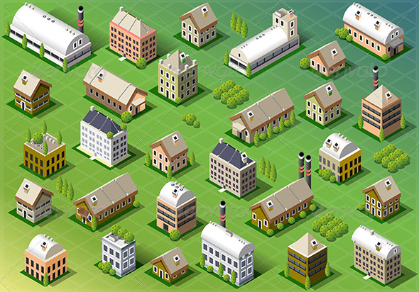 Set of Isometric Building in Spring - Buildings Objects