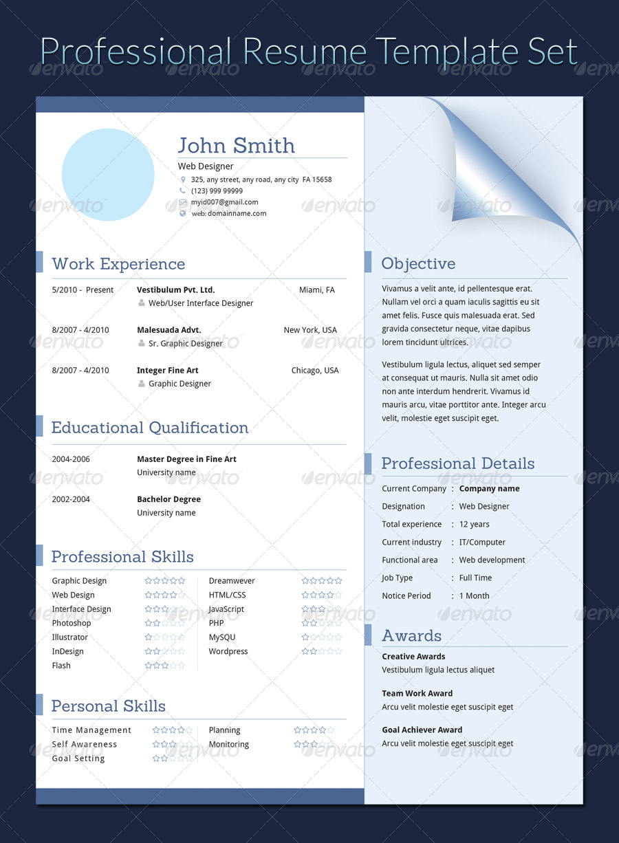 professional resume template set by khatrijiya graphicriver. Black Bedroom Furniture Sets. Home Design Ideas