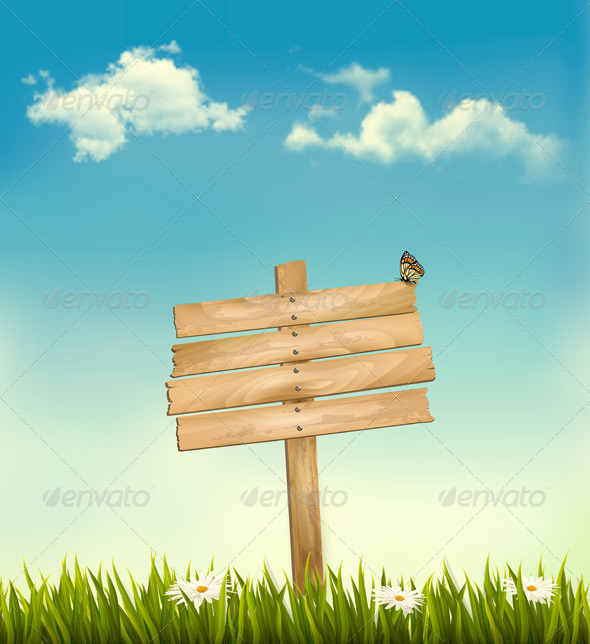 Retro Background with a Wooden Sign - Nature Conceptual