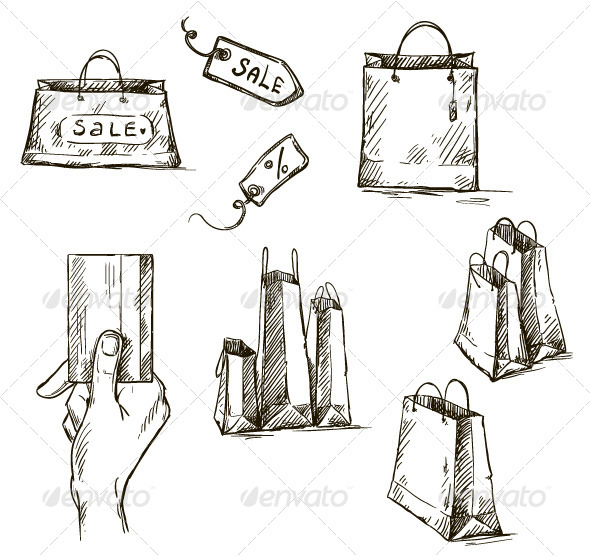 Shopping Icons, Sale Tag, Paper Bags - Commercial / Shopping Conceptual