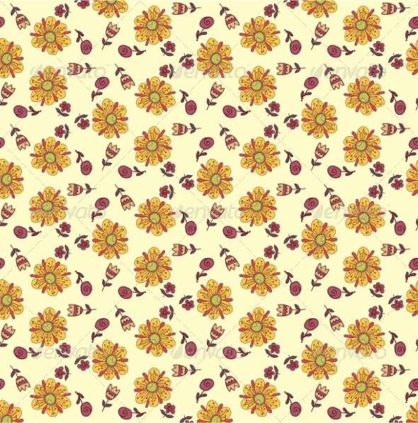 Retro Floral Background - Flowers & Plants Nature