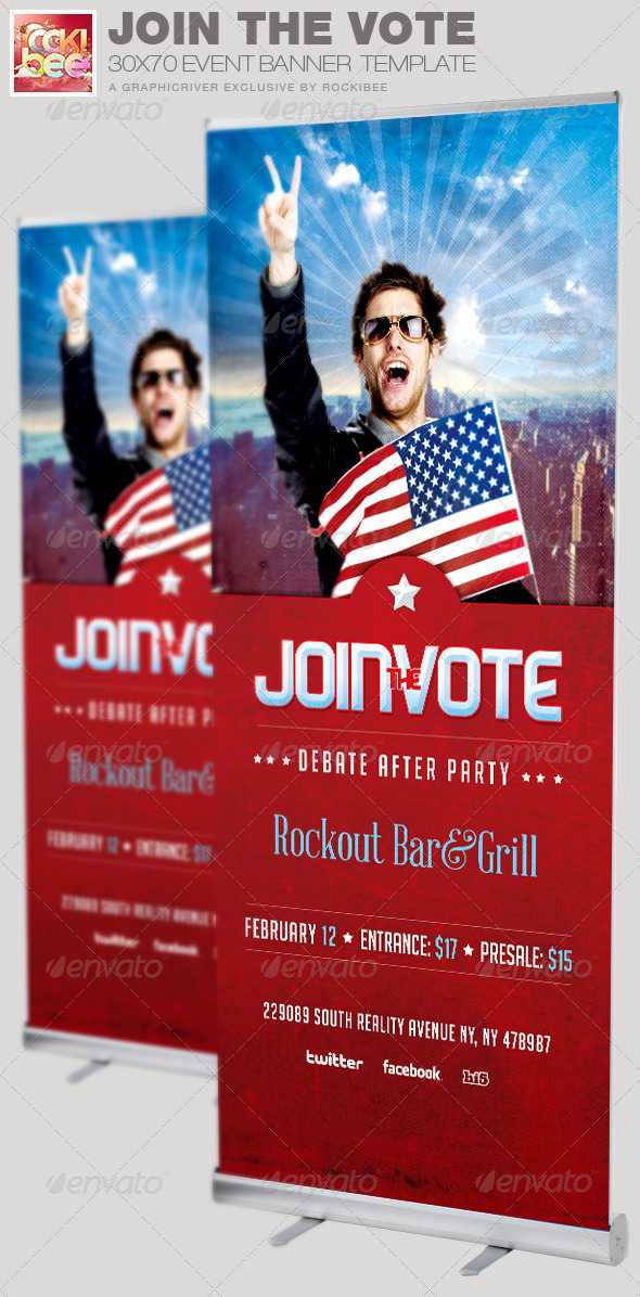 Join the Vote Event Banner Signage Template - Signage Print Templates