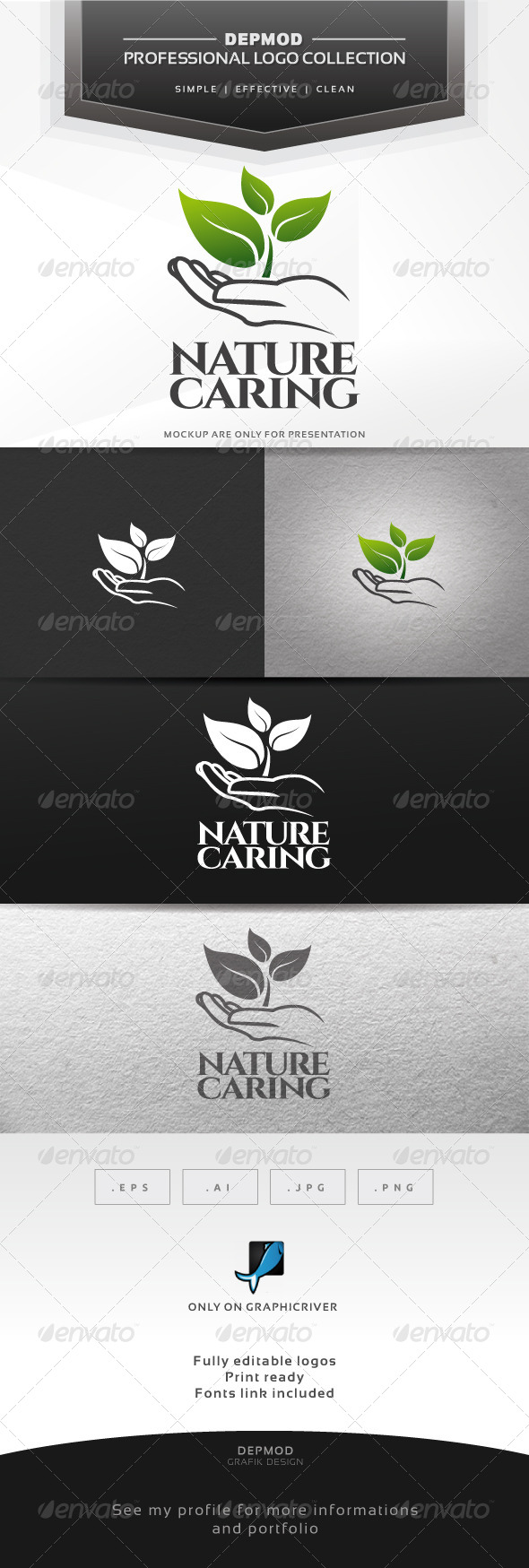 Nature Caring Logo - Nature Logo Templates