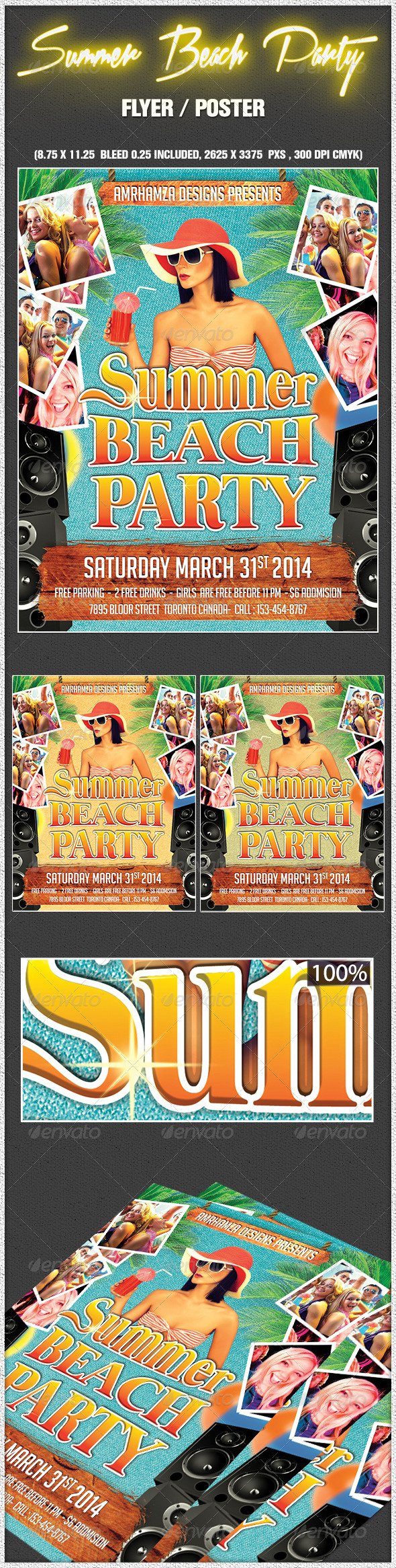 Summer Beach Party Flyer Poster - Clubs & Parties Events