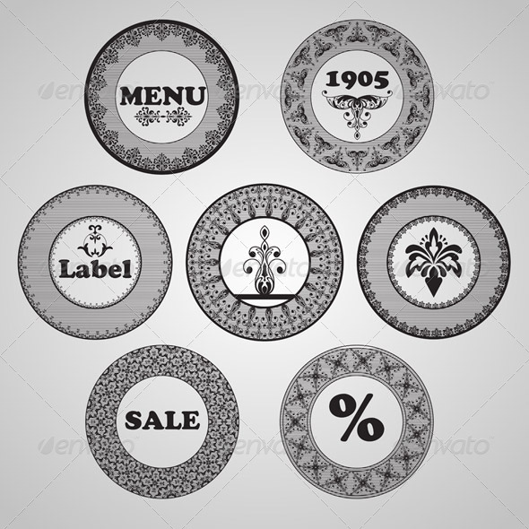 Vector Vintage Labels - Decorative Symbols Decorative