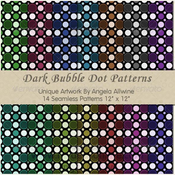 Dark Bubble Dots Pattern Set - Patterns Backgrounds