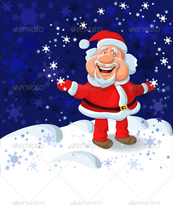 Happy Santa Claus on the Background of Snow - Christmas Seasons/Holidays