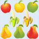 Vector Fruits: Apple, Pear, Banana - GraphicRiver Item for Sale