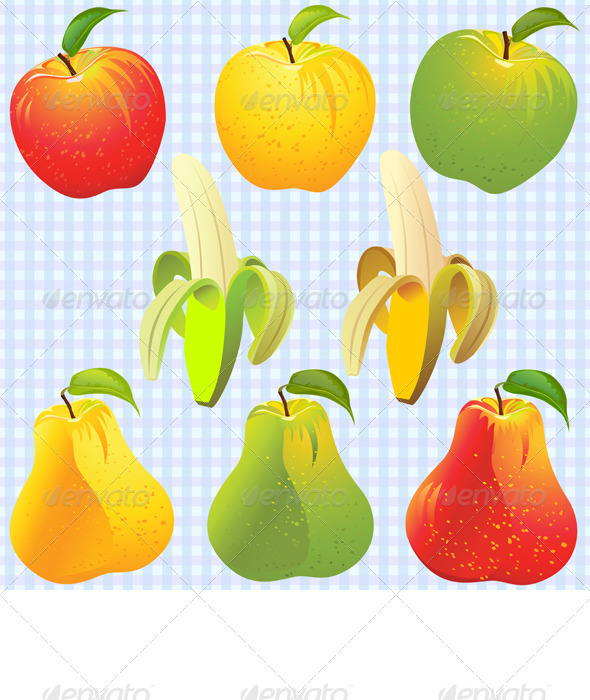 Vector Fruits: Apple, Pear, Banana - Food Objects