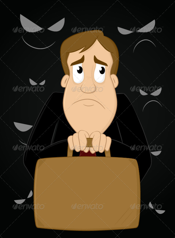 Scared Businessman - People Characters