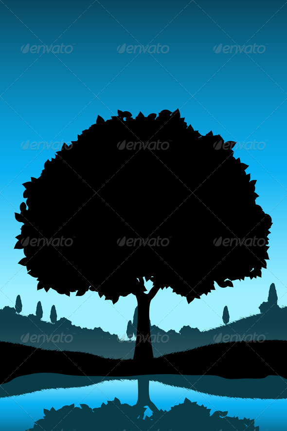 Nature Landscape with Tree Silhouette - Landscapes Nature