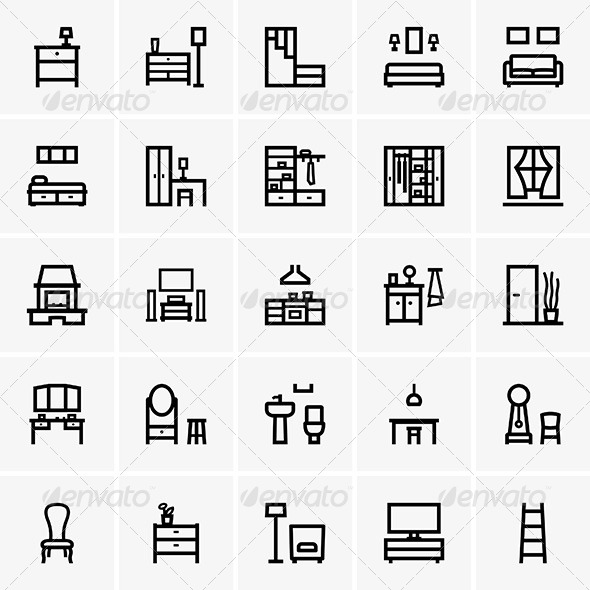 Interior Icons - Decorative Symbols Decorative