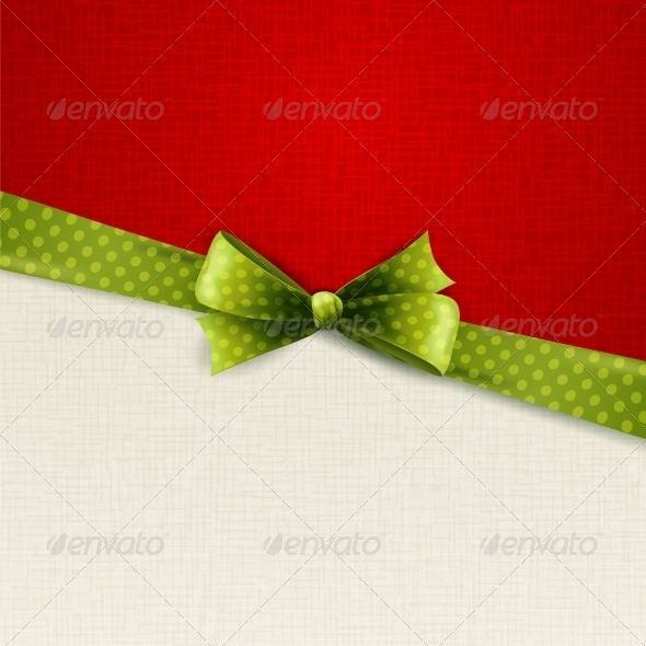 Holiday Background with Green Polka Dots Bow - Miscellaneous Vectors