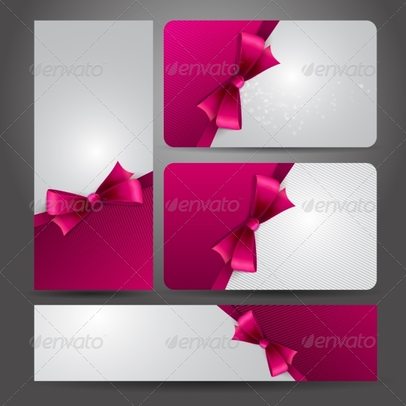 Holiday Gift Card  with Red Ribbons and Bow. - Miscellaneous Vectors