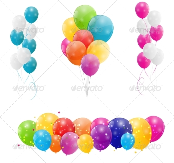 Color Glossy Balloons Background - Decorative Symbols Decorative