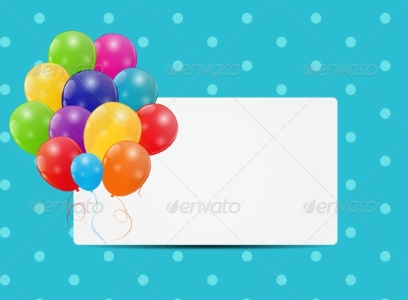 Color Glossy Balloons Card Background - Decorative Symbols Decorative