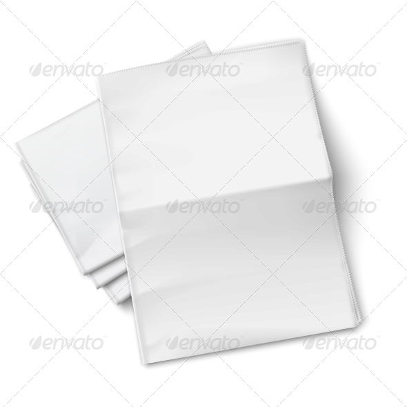 Blank Newspapers Pile on White Background. - Retail Commercial / Shopping