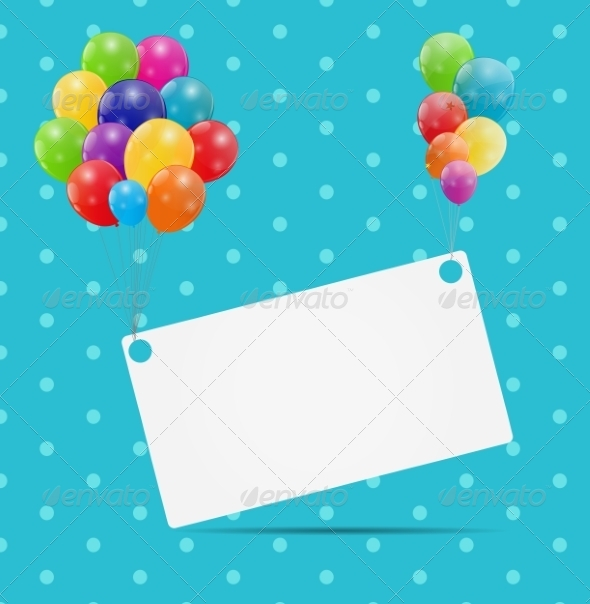 Color Glossy Balloons Card Background - Decorative Symbols Decorative