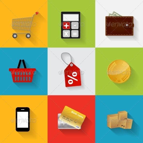 Shopping Flat Icons - Decorative Symbols Decorative