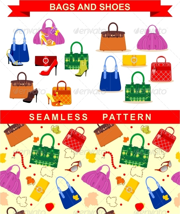 Bags and Shoes - Objects Vectors
